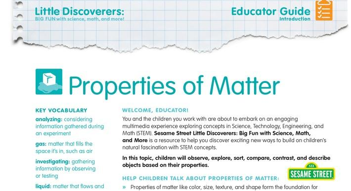 Properties of Matter Educator Guide | Sesame Street