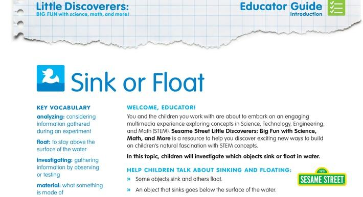 Sink or Float Educator Guide | Sesame Street