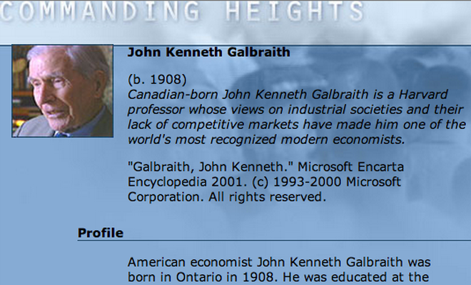 Economic Architect: John Kenneth Galbraith