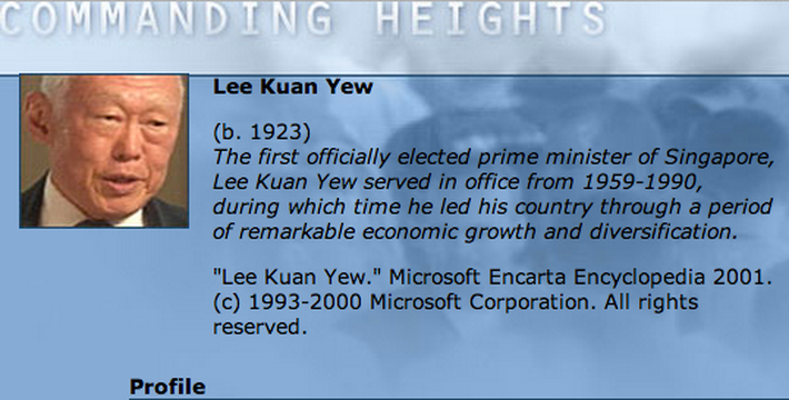 Economic Architect: Lee Kuan Yew