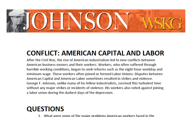 CONFLICT: American Capital and Labor Questions