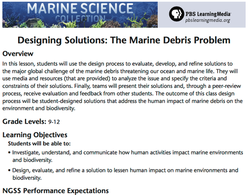 Designing Solutions to the Marine Debris Problem | Lesson Plan