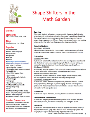Shape Shifters in the Math Garden | Project Learning Garden