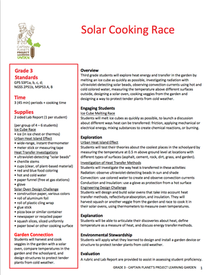 Solar Cooking Race | Project Learning Garden