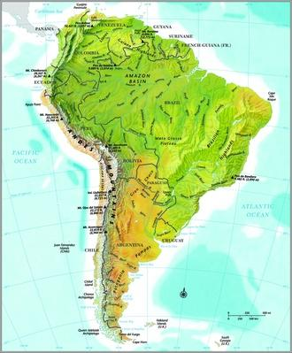 South America Relief Map