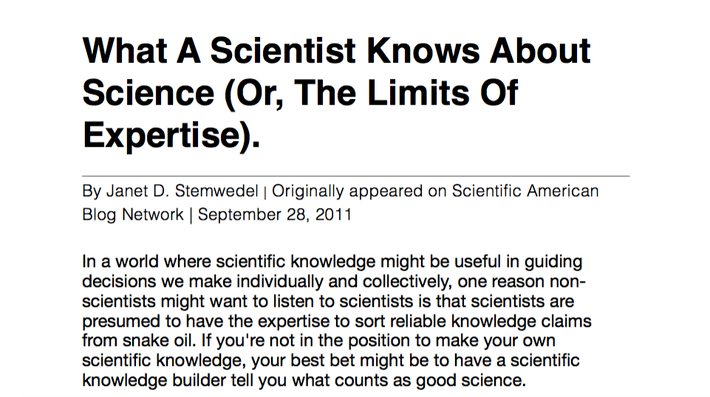 What a scientist knows about science (or, the limits of expertise).