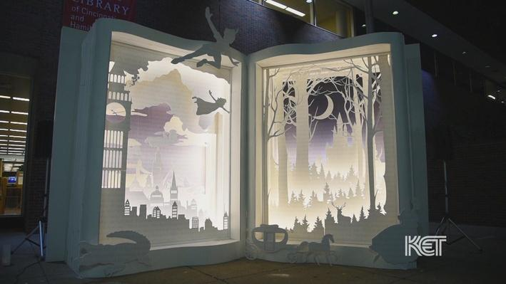 Photo of Storybook, a lighted 3-D book art installation.
