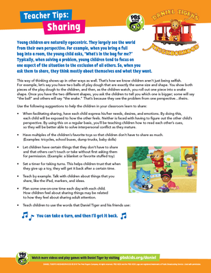 Teacher Tips: Sharing | Daniel Tiger's Neighborhood