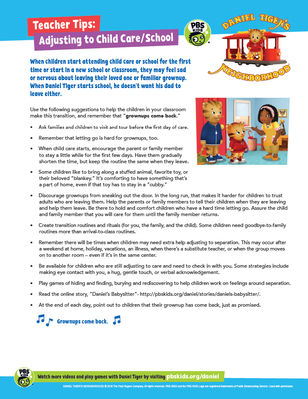 Teacher Tips: Adjusting to Child Care / School  | Daniel Tiger's Neighborhood