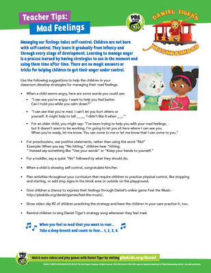 Teacher Tips: Mad Feelings | Daniel Tiger's Neighborhood