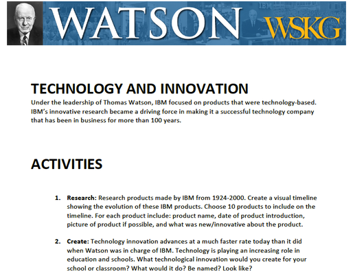 Technology & Innovation: Activities