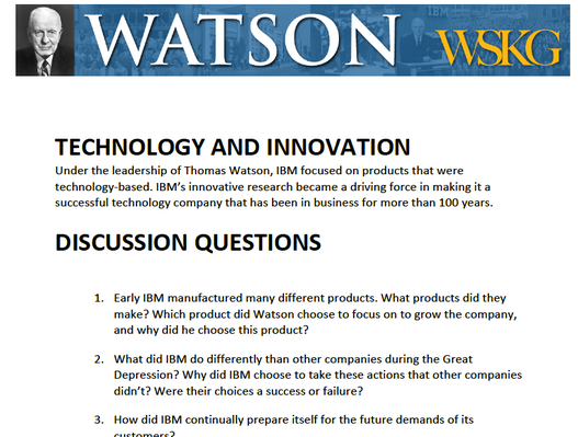 Technology & Innovation: Discussion Questions