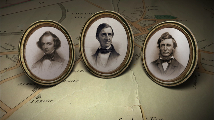 Photographs of three transcendetalists, Emerson, Thoreau, and Hawthorne