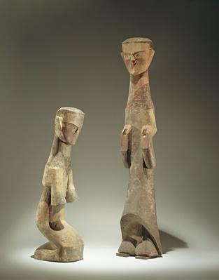 Two statuettes, late Zhou Dynasty (1046-256 BC) 4th - 3rd century BC (wood)