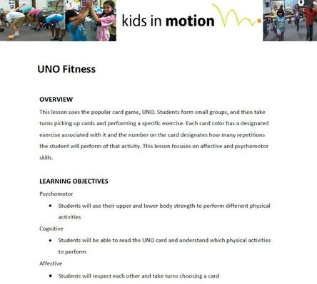 UNO Fitness Lesson Plan