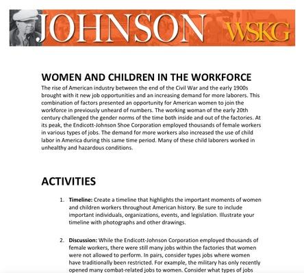 Women and Children in the Workforce Activities