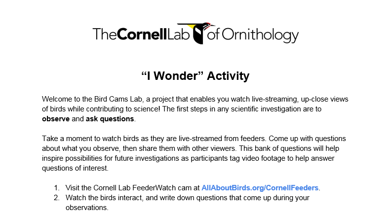 Citizen Science for Your Classroom: Cornell Bird Cams Lab