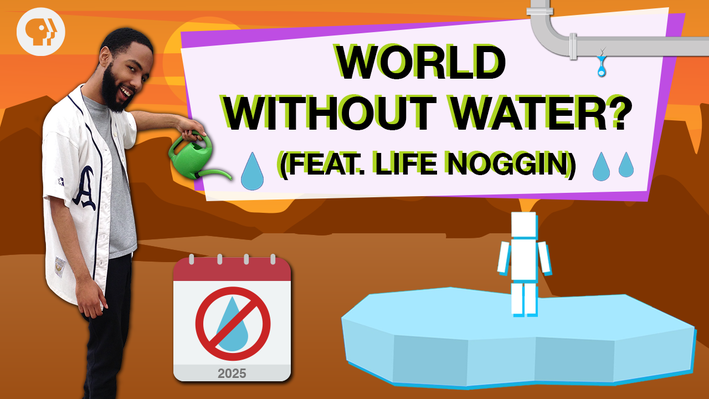 """A collage of a desert background and our host Myles Bess, with a banner that reads """"World Without Water? (feat. Life Noggin)"""""""