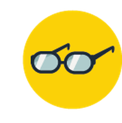Science Icons - Yellow and Blue - Glasses | Clipart