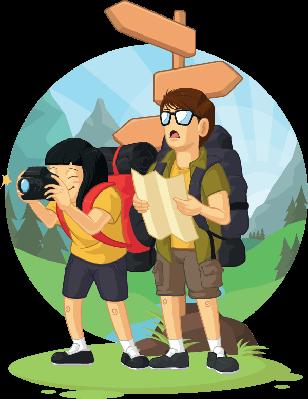 Cartoon Of Backpacker Boy & Girl Enjoying Vacation | Clipart