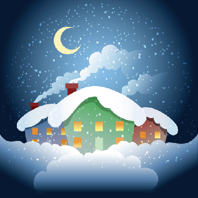 Four Seasons Scenery - Winter Village at Night | Clipart