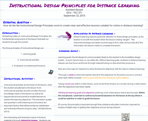 Instructional Design Principals for Distance Learning
