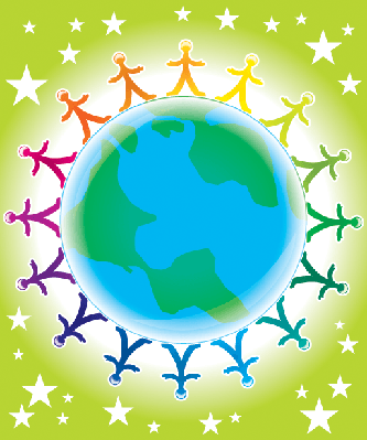 People United Atop World Globe | Clipart