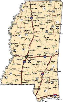 Mississippi Highway Map  | Clipart