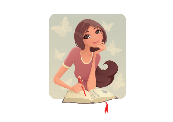 Girl With Diary | Clipart