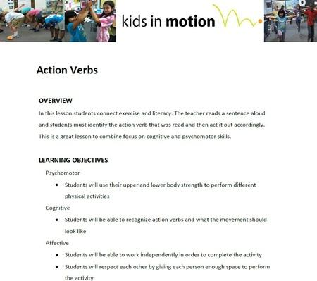 Action Verbs Lesson Plan