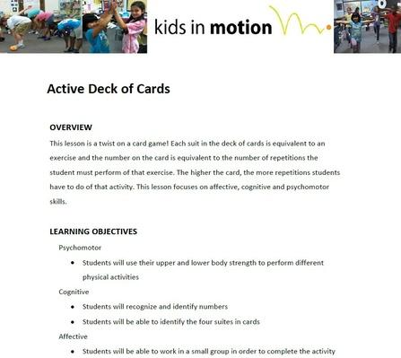 Active Deck of Cards Lesson Plan