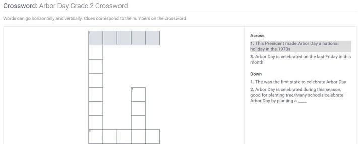 Arbor Day | Grade 2 Crossword