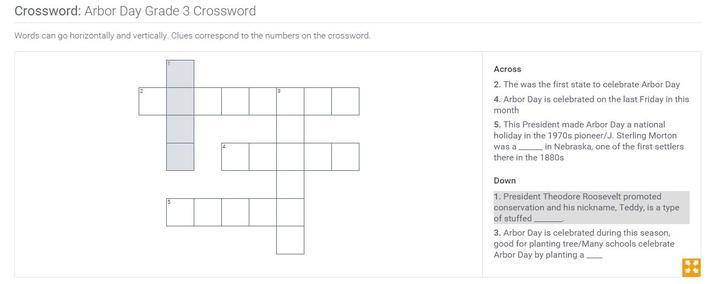 Arbor Day | Grade 3 Crossword