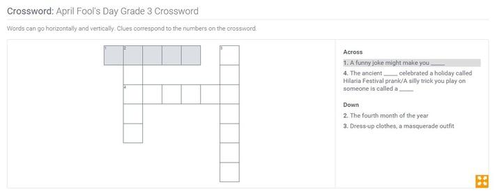 April Fool's Day | Grade 3 Crossword