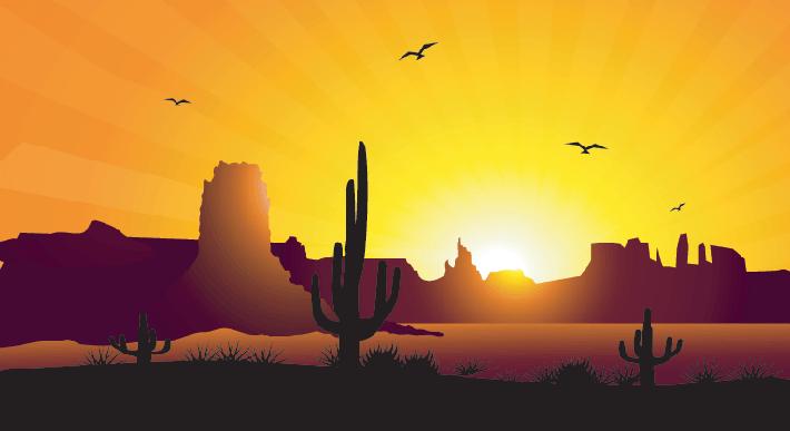 Desert Sunrise & Cactus-Vector | Clipart