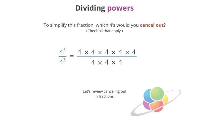 Dividing Powers | School Yourself Algebra