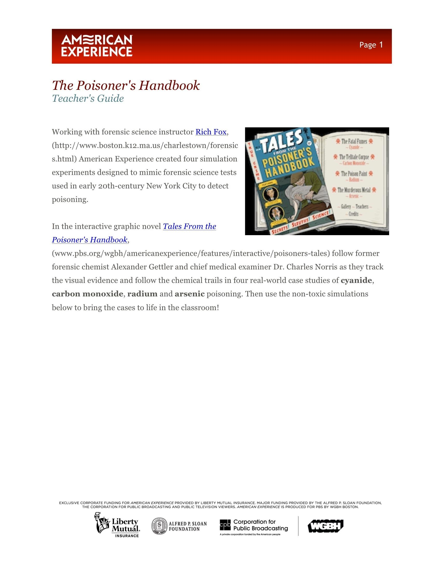 The Poisoner's Handbook - Interactive: Tales from the