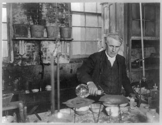 Thomas Edison Pours Chemicals in the Lab, Circa 1905