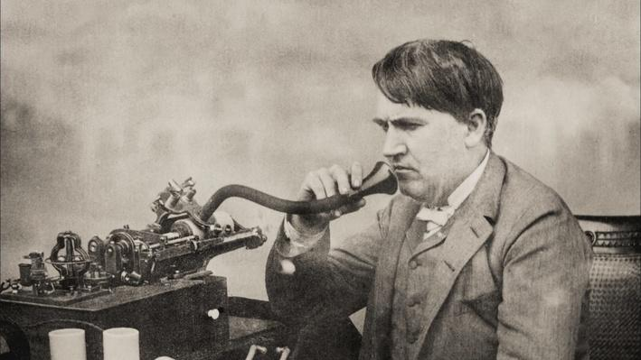 Edison Speaks Into a Phonograph, 1888