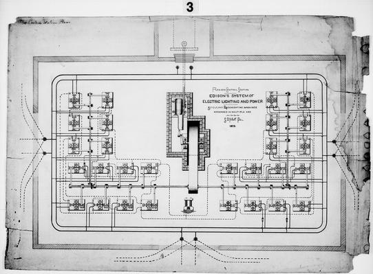 Edison's System of Electric Lighting and Power: Plan of a Central Station, 1879