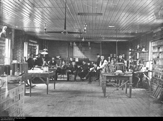 Thomas Edison and Employees Inside the Menlo Park Lab, 1880