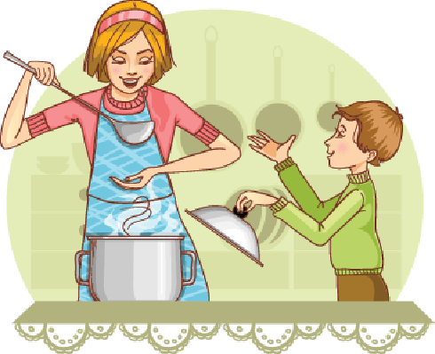 Mother and Son Tests Food in The Kitchen | Clipart
