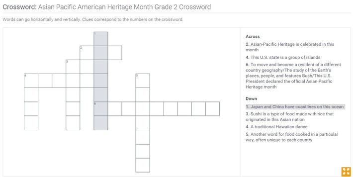Asian Pacific American Heritage Month | Grade 2 Crossword