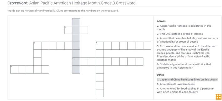 Asian Pacific American Heritage Month | Grade 3 Crossword