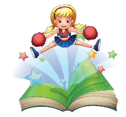 Book with An Image of A Cheerdancer Dancing | Clipart