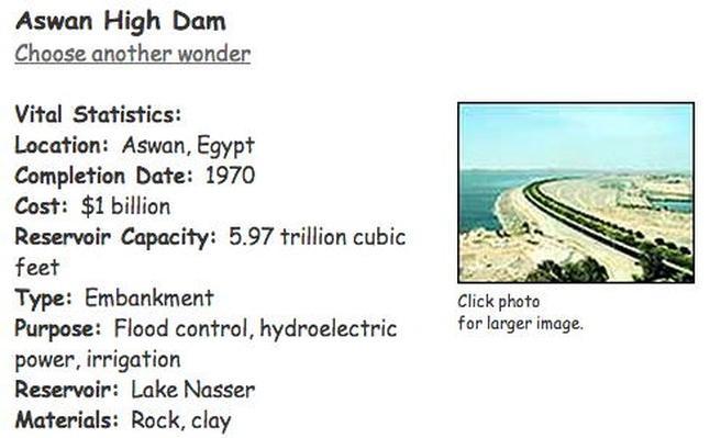Image result for high dam egypt fact sheet