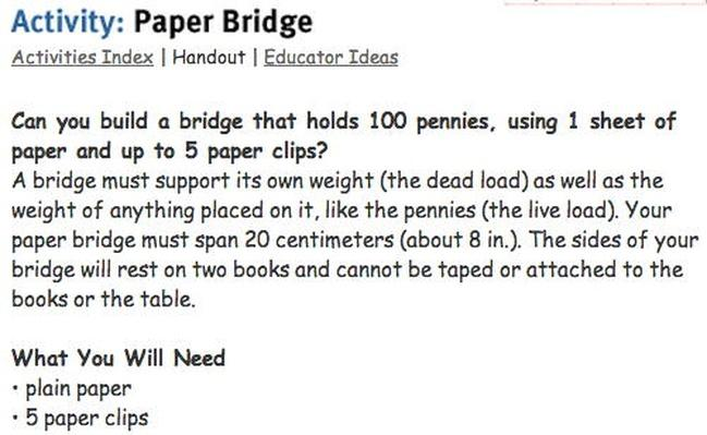 Paper Bridge Activity