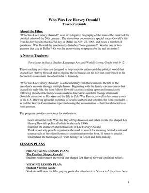 Who Was Lee Harvey Oswald - Teacher's Guide