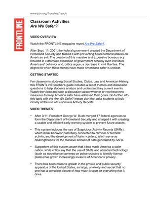 Are We Safer? Teacher's Guide