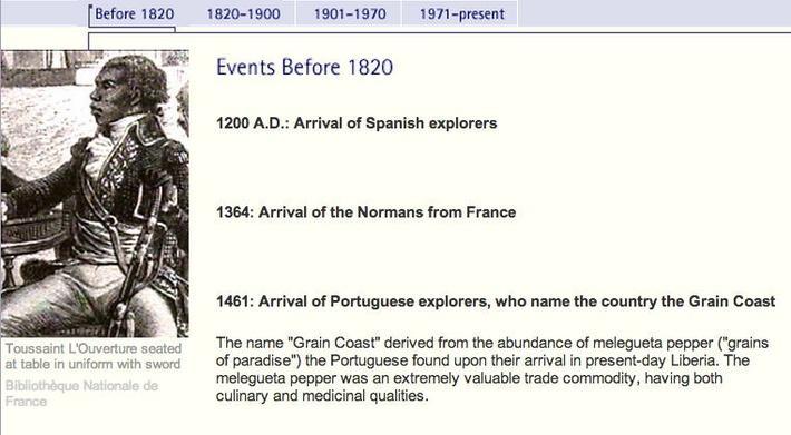 Liberia Timeline: Pre 1820